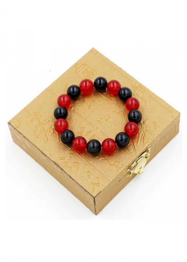 Vòng đeo tay chuỗi hạt đá thạch anh đỏ đen - Sản phẩm phong thủy phù hợp cho nam và nữ