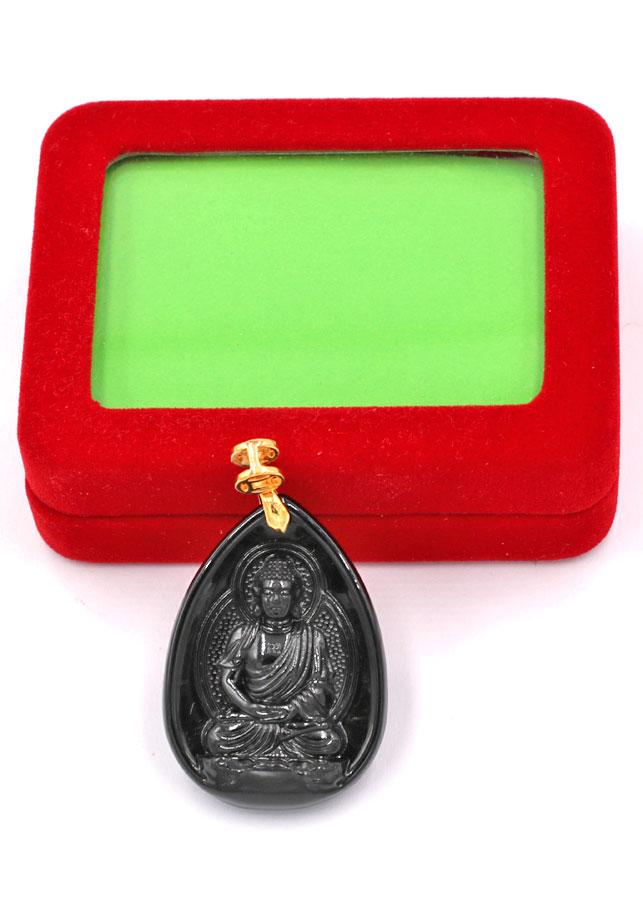 Mặt dây chuyên Dược Sư Lưu Ly Quang Vương Phật đá thạch anh đen 4cm MEDS9 kèm hộp nhung