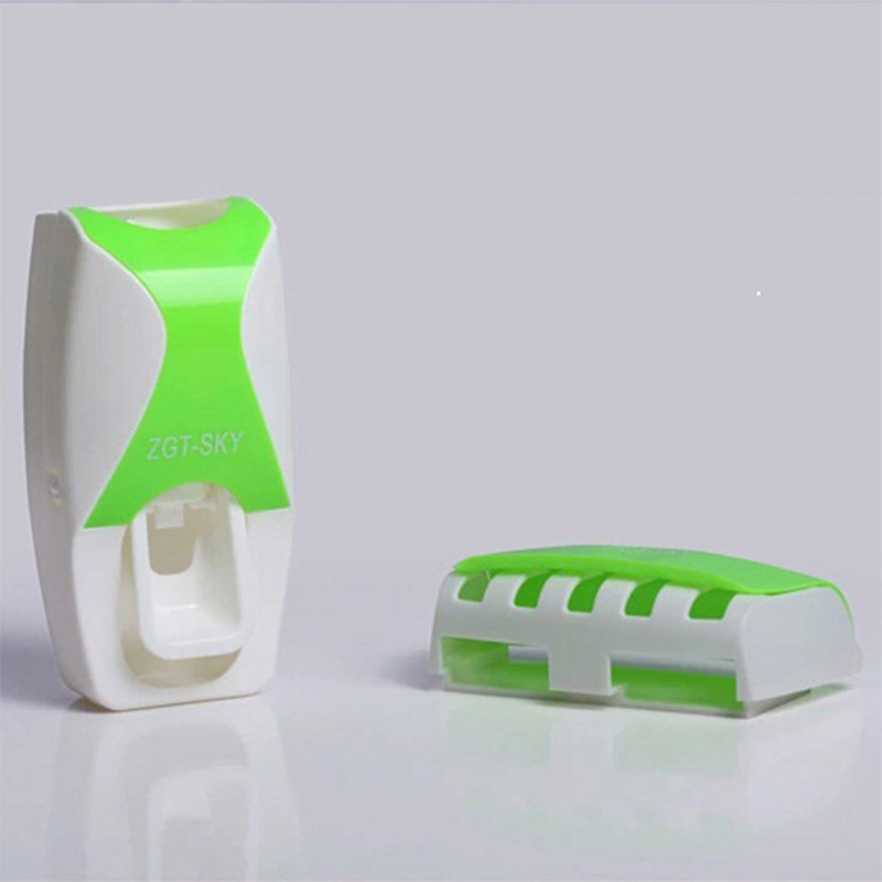 Automatic Toothpaste Dispenser Toothbrush Holder Wall Mounted Rack Bath Set Tool