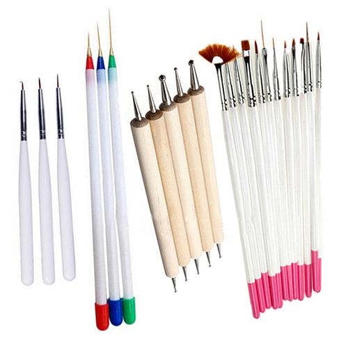 23 Pcs Nail Art Polish Painting Draw Pens Brush Tips Tools Set
