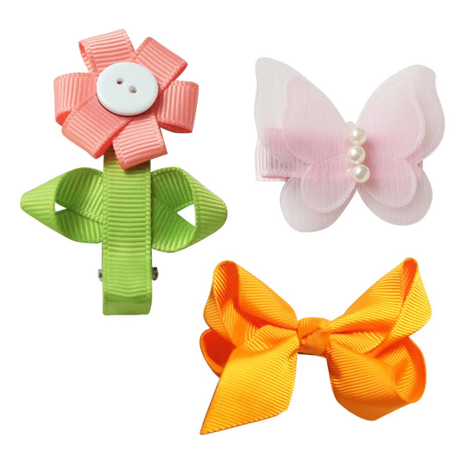 Set Kẹp Hoa Hướng Dương Bướm Voal Và Nơ Cam CucKeo Kids T101819 - Đủ Màu
