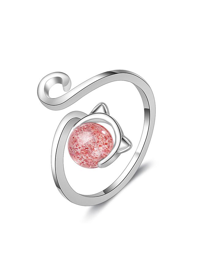 Nhẫn bạc nữ Mèo hồng xinh xắn