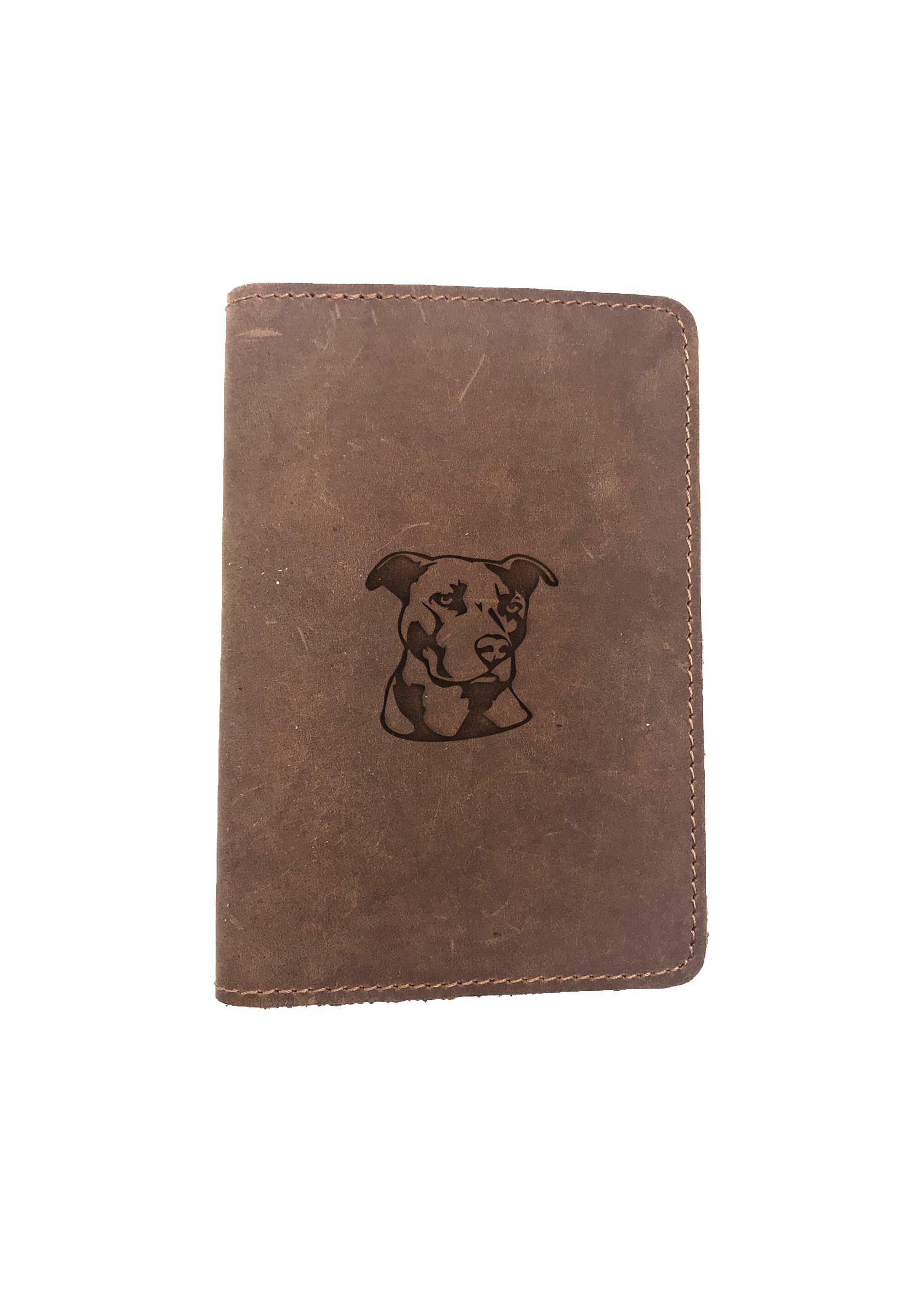 Passport Cover Bao Da Hộ Chiếu Da Sáp Khắc Hình HÌnh PITBULL FACE STENCIL ART (BROWN)