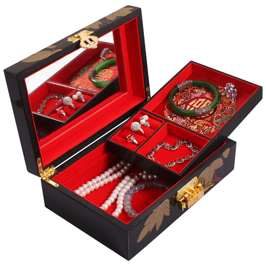 Lawei single layer gold peony black push lacquer jewellery box Chinese style lock with mirror jewelry storage box