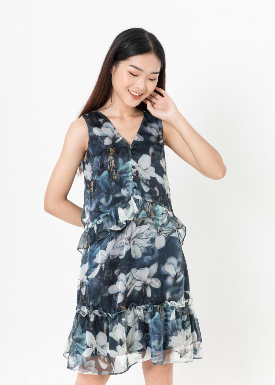 De Leah - Đầm Suông Lụa Can Bèo - Xanh lá