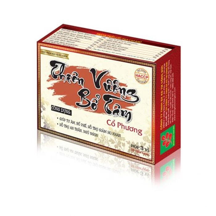 Thực phẩm bảo vệ sức khỏe tăng cường hệ miễn dịch, bổ phế, an thần Thiên vương bổ tâm Cổ Phương (30 viên) - 1658555 , 9699747531277 , 62_11477616 , 108000 , Thuc-pham-bao-ve-suc-khoe-tang-cuong-he-mien-dich-bo-phe-an-than-Thien-vuong-bo-tam-Co-Phuong-30-vien-62_11477616 , tiki.vn , Thực phẩm bảo vệ sức khỏe tăng cường hệ miễn dịch, bổ phế, an thần Thiên vư