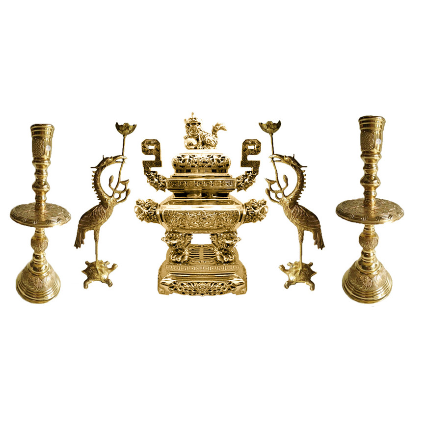 Bộ ngũ sự vuông 5 món Lư hương đỉnh đồng đồ thờ phụng bằng đồng thau Tâm Thành Phát