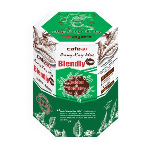 Café rang xay mộc nguyên chất - Arabica+Robusta - Cafe4U Blendly Plus Hộp 250g