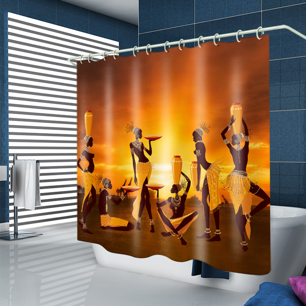 Shower Curtain Waterproof Polyester Fabric Bath Curtains 12 Grommet Holes Bathroom Curtains for Bathtub Showers