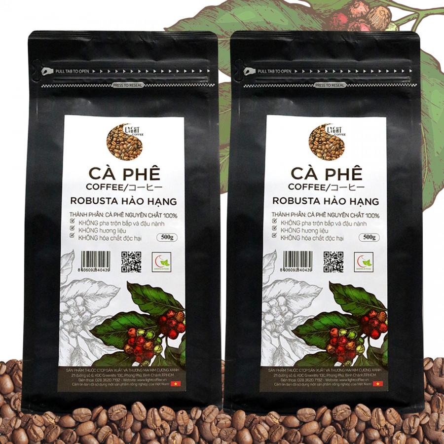 2 gói (1kg) Cà phê hạt nguyên chất 100% Robusta Hảo Hạng - Light coffee - gói 500g