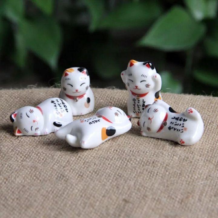 Set tượng mèo mini 5 con