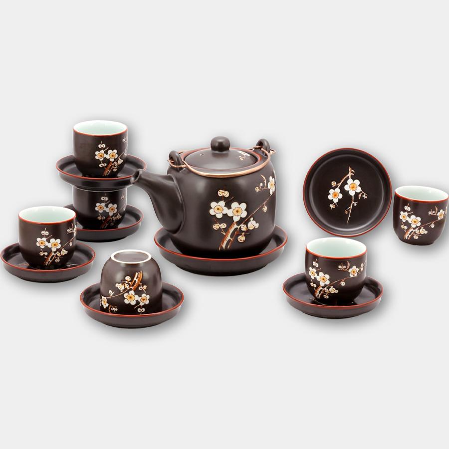Bộ ấm chén tử sa vại khắc hoa Đào gốm sứ Bát Tràng (bộ bình uống trà, bình trà)