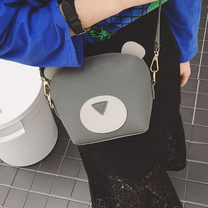 Women Mini Crossbody Bag PU Leather Cute Cartoon Face Zipper Contrast Small Messenger Shoulder Bag