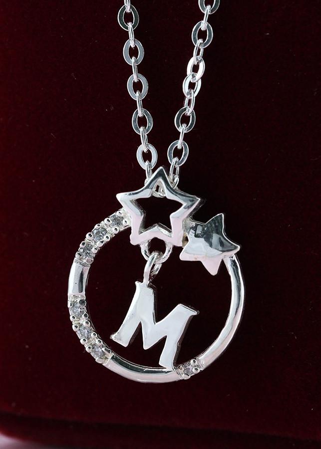 Dây chuyền bạc nữ mặt trăng sao khắc tên chữ M DCN0286