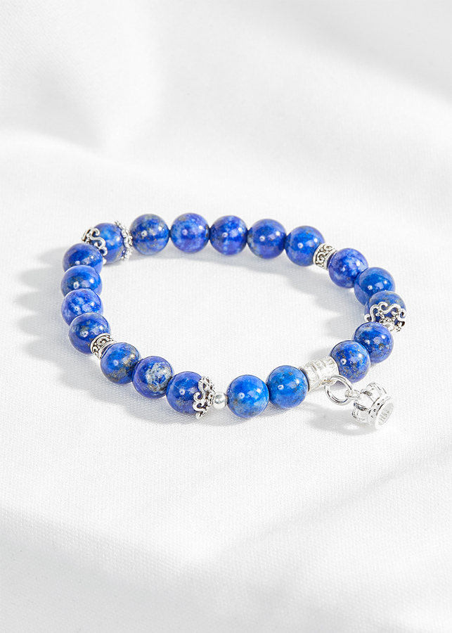 Vòng lapis lazuli phối charm vương miệng bạc Ngọc Quý Gemstones