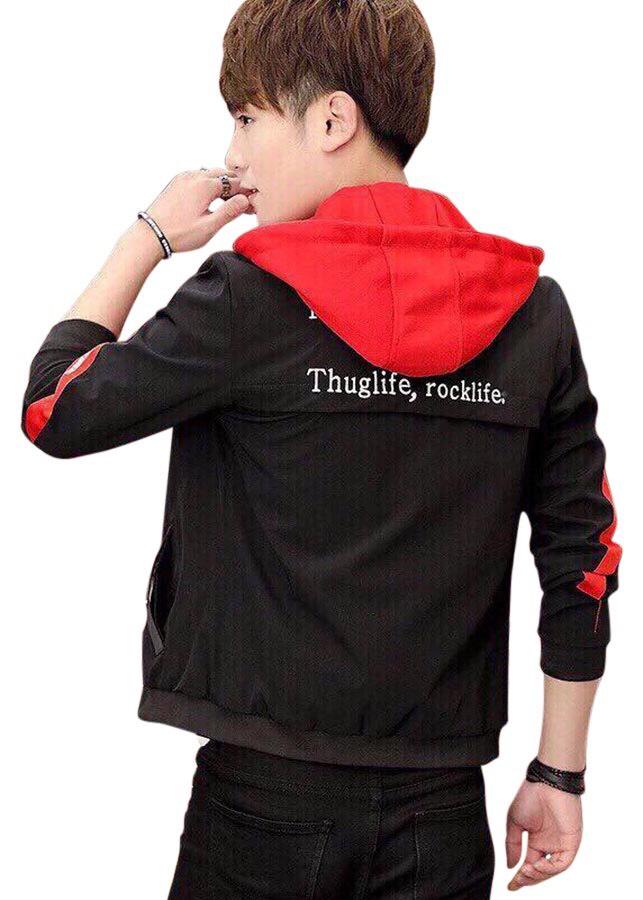áo khoác nam cao cấp 2 màu đỏ đen có mũ