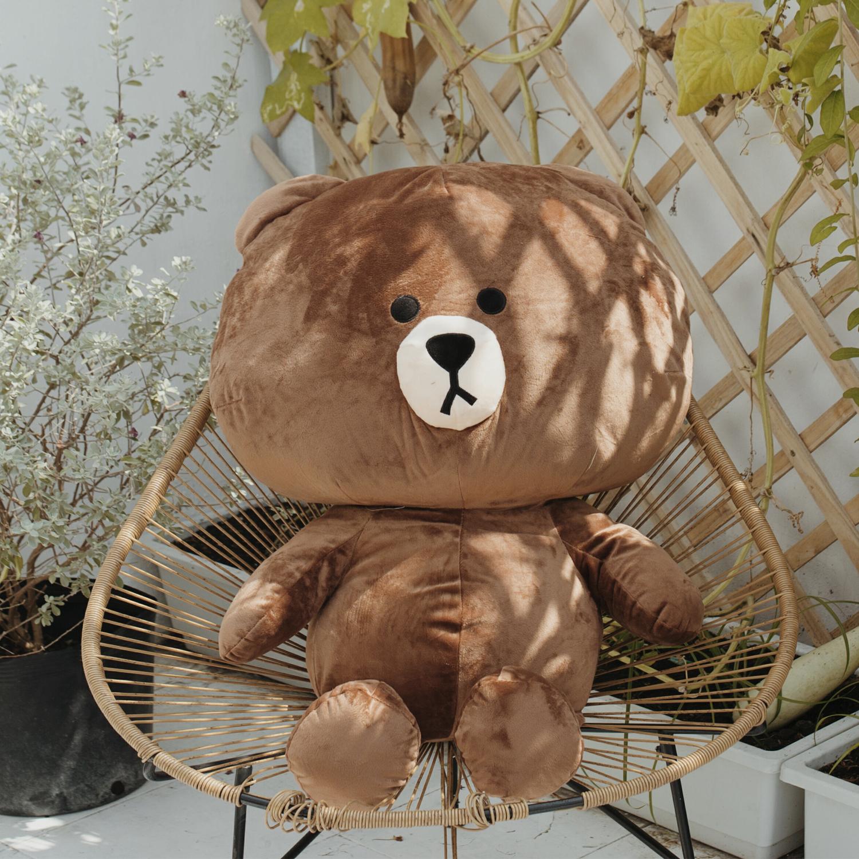 Gấu bông Line Brown cao cấp khổ vải 1M4 màu nâu