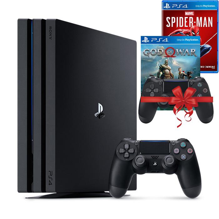 Bộ máy PS4 Pro 2TB kèm 2 tay bấm + 2 đĩa game God Of War, Spider Man - Playstation Hàng chính hãng