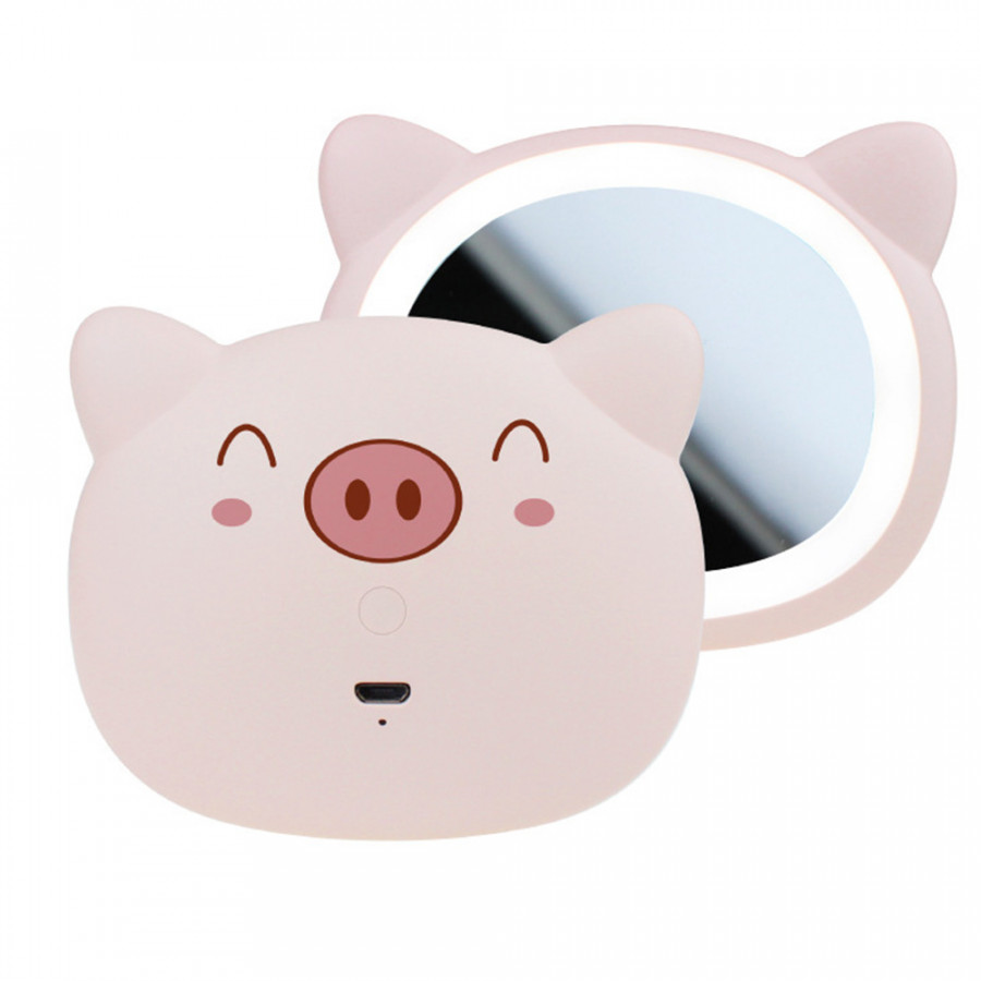 Makeup Mirror Cosmetic Mirror Beauty 10LED Light Cute Pig Dressing Room Hollywood Style