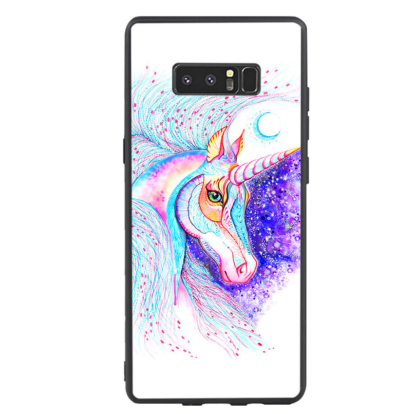 Ốp lưng nhựa cứng viền dẻo TPU cho điện thoại Samsung Galaxy Note 8 - Horse 01