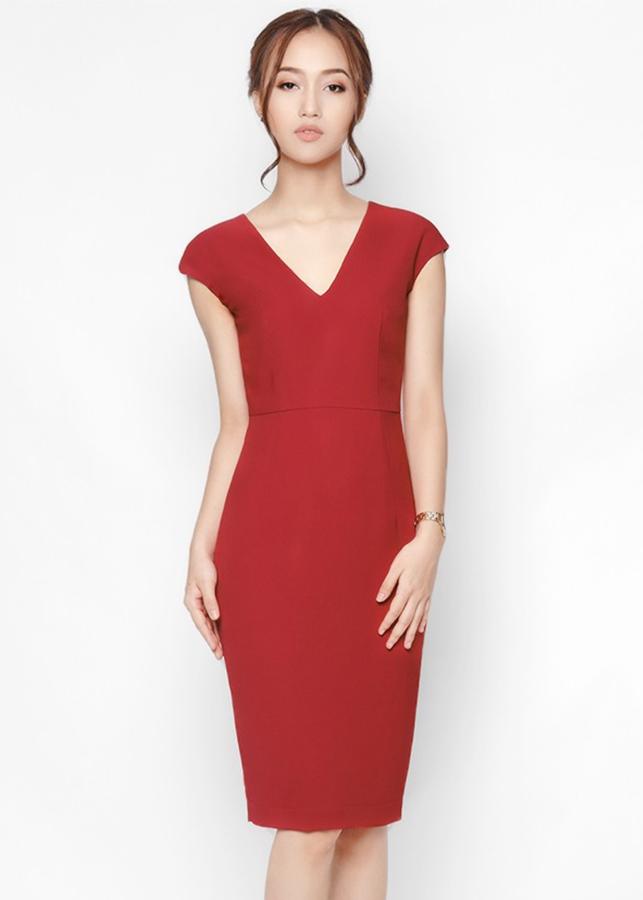 Đầm Ôm Cổ V De Leah - Đỏ