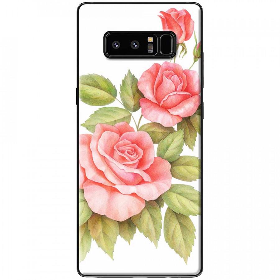 Ốp lưng dành cho Samsung Galaxy Note 8 mẫu Ba hoa hồng đỏ nền trắng