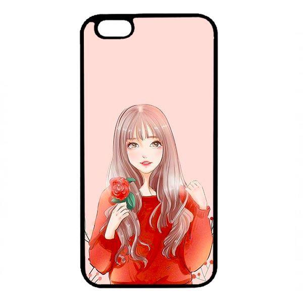 Ốp lưng dành cho điện thoại Iphone 6 Plus Cô Gái Cầm Hoa
