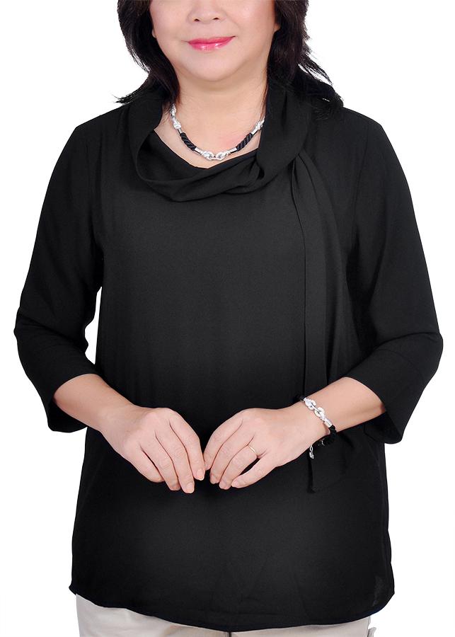 Áo Kiểu Nữ Chiffon Quàng Cổ ALX ALX43 - Đen