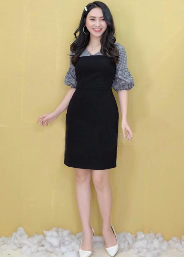 Đầm ôm phối tay ca rô(size