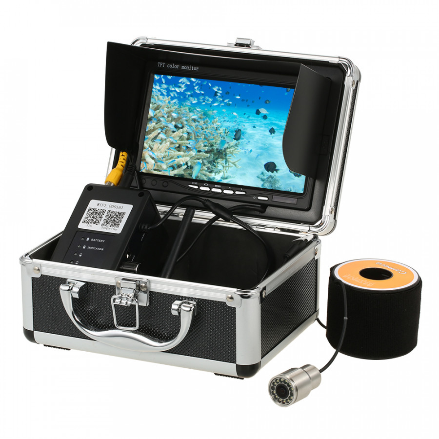 """1000TVL WiFi Underwater Fishing Camera Fish Finder 5 Mobile App Viewing for iOS for Android 7"""" Color Monitor 30m Cable"""