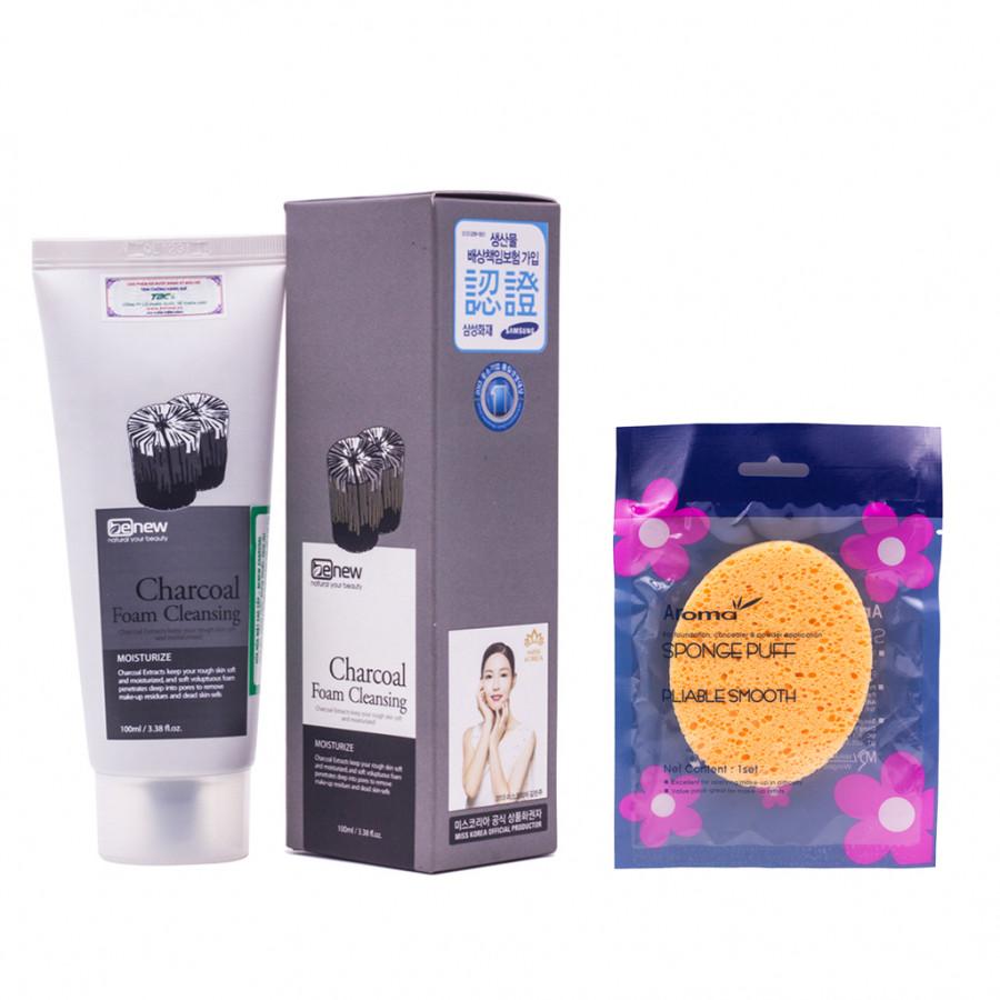 Combo Sữa rửa mặt cao cấp Hàn Quốc cho da dầu Benew Charcoal Than hoạt tính (100ml) – Hàng chính hãng + Tặng Bông rửa...