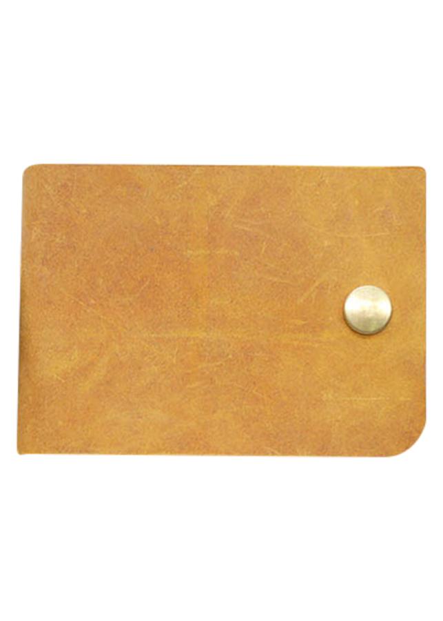 Ví Sen Da Bò Thật Màu Vàng Bò Goldblack WDB006-NV