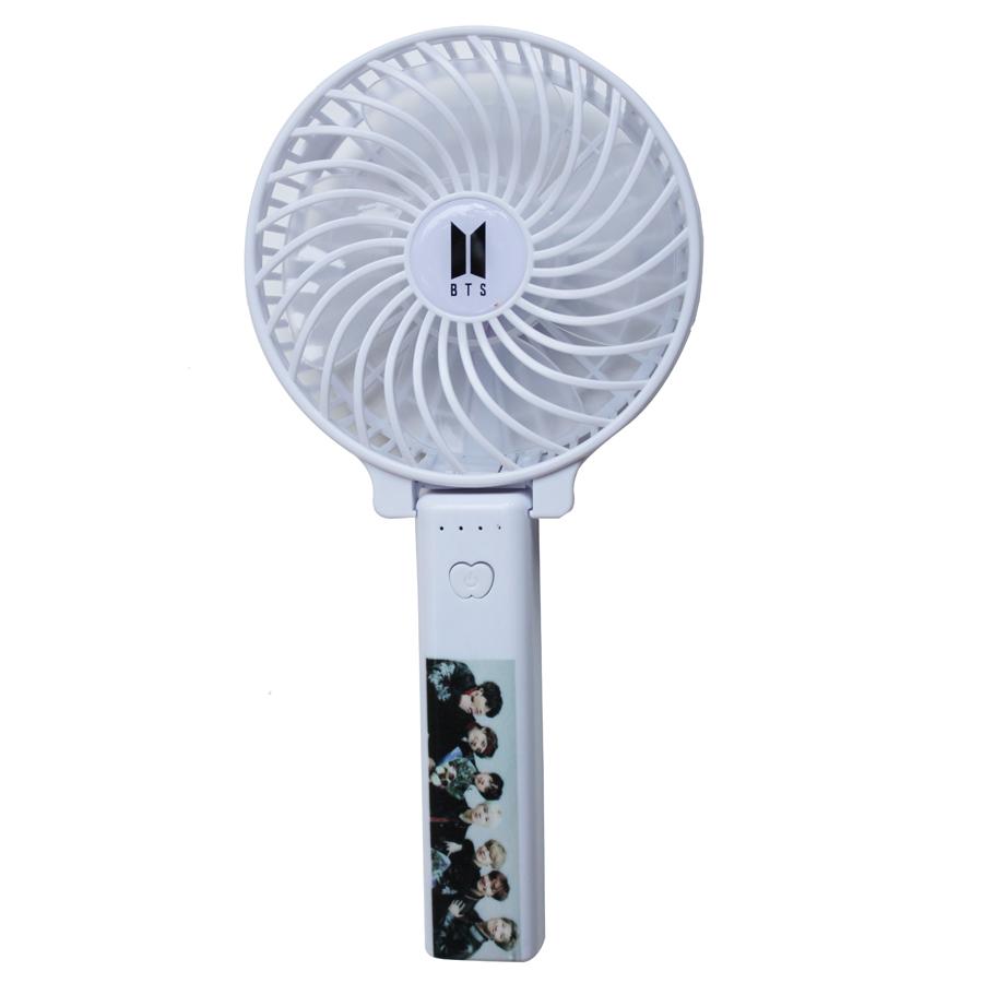 Quạt BTS 3 cấp độ gió sạc điện - Kèm móc khóa gỗ thiết kế
