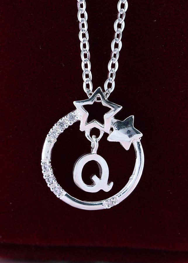 Dây chuyền bạc nữ mặt trăng sao khắc tên chữ Q DCN0286