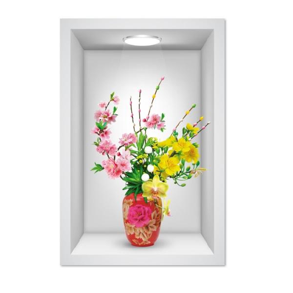 Tranh dán tường ô 3D lọ hoa   006 KT 40 x 60 cm