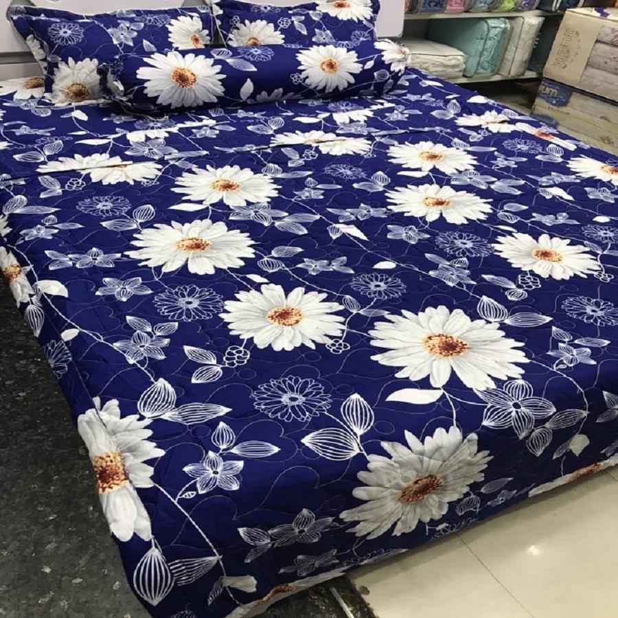 Bộ chăn ga gối cotton poly hoa cúc trắng 1m6*2m MR001