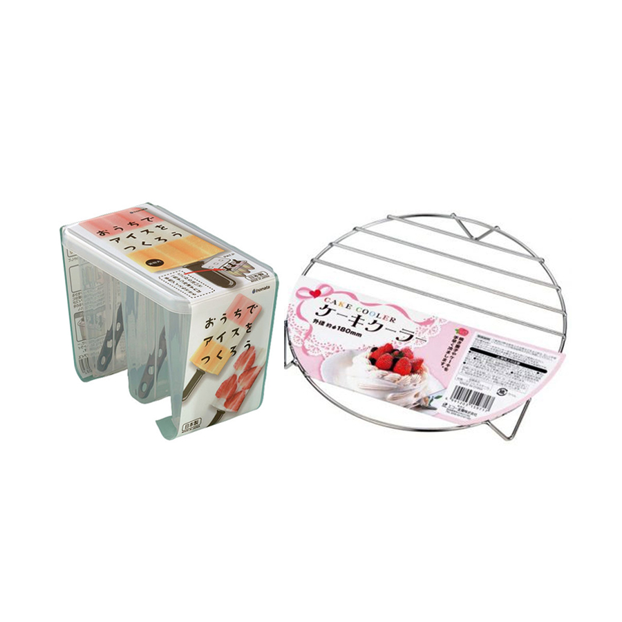 Combo Đế lót nướng bánh + Khuôn làm kem 3 chiếc (nhựa trong) nội địa Nhật Bản
