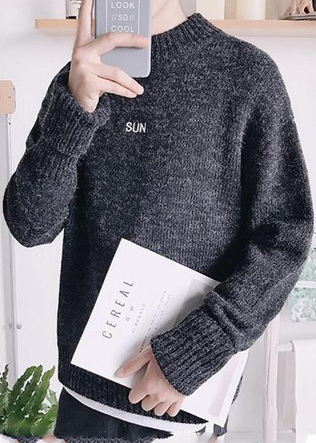 Áo len nam cổ lỡ dáng rộng hàn quốc đan chữ trước ngực thời trang