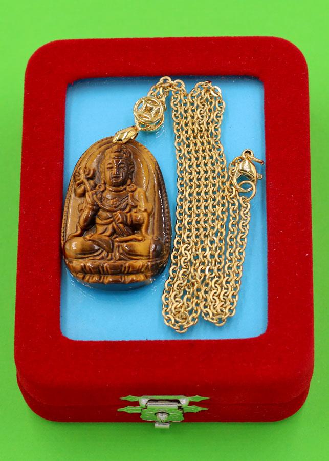 Vòng cổ phật Đại Thế Chí Bồ Tát - đá mắt hổ 3.6cm DIVMHB4 - dây inox vàng - kèm hộp nhung - tuổi Ngọ