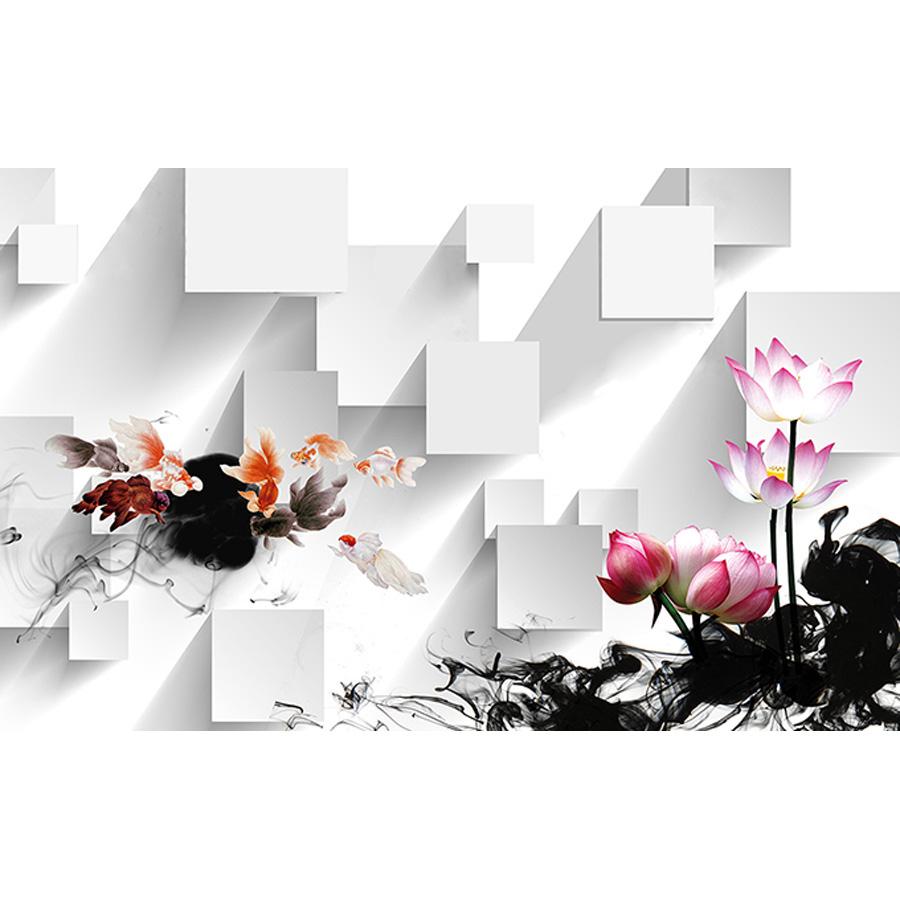 Tranh dán tường 3d | Tranh dán tường phong thủy hoa sen cá chép 3d 119