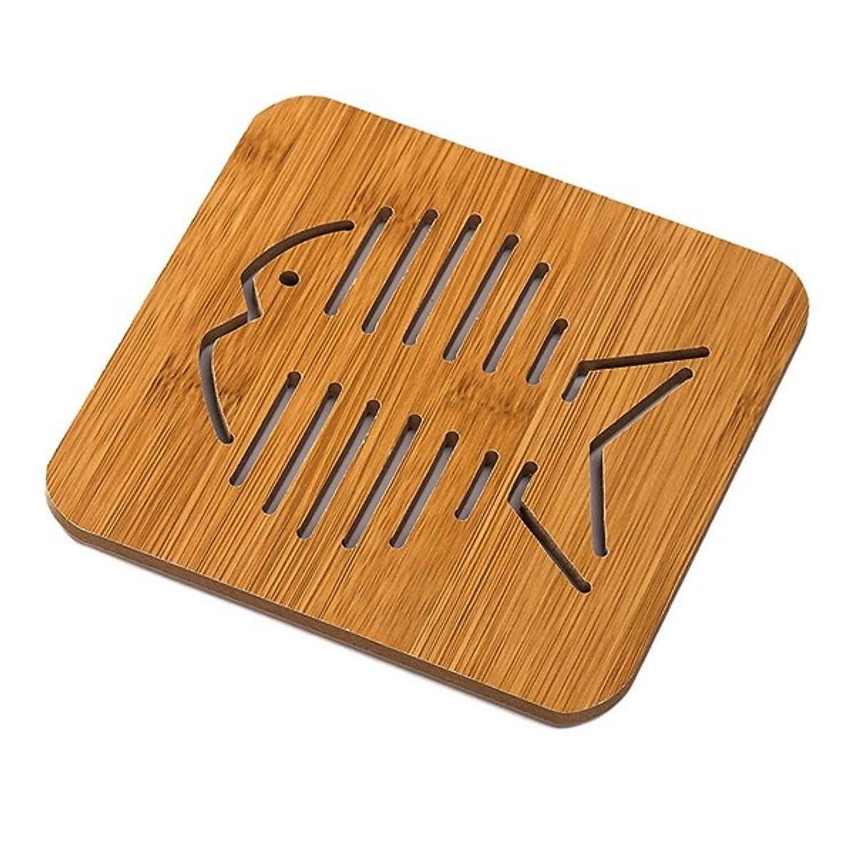 Bộ 6 tấm lót nồi bằng gỗ hình thú dễ thương, có đế cao su chống trơn trượt tốt