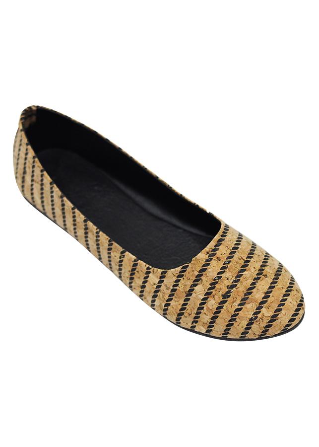Giày Búp Bê Trơn Vân Gỗ Sọc Ngang Megirl 92322 - Màu Nâu