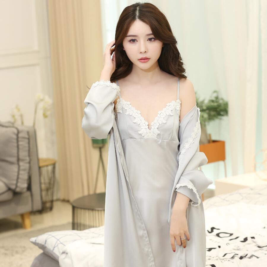 Set Váy Ngủ + Áo Choàng Lụa Ding
