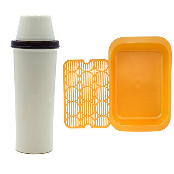 Combo bình nước nắp cốc đậy 420ml + khay úp ly chén màu cam nội địa Nhật Bản