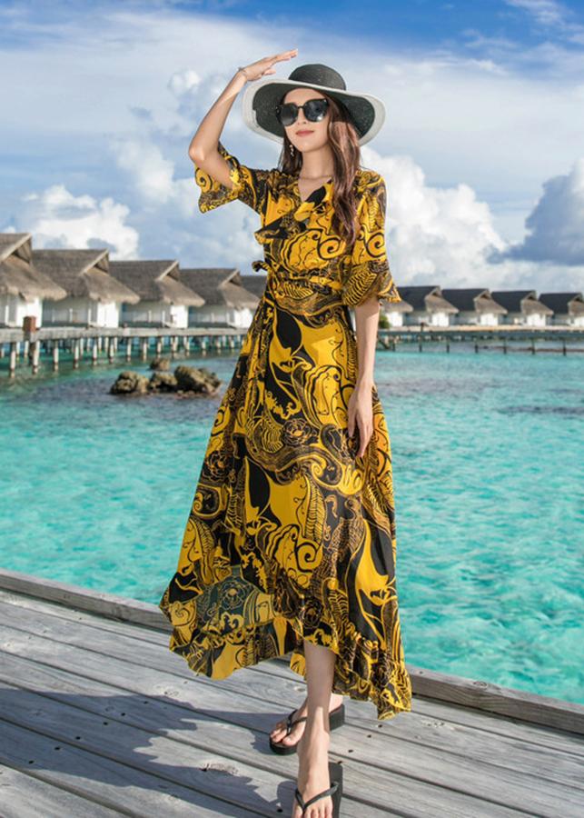 Đầm khoác đi biển kiểu đầm in họa tiết phối tay loe cột nơ ROMI1664