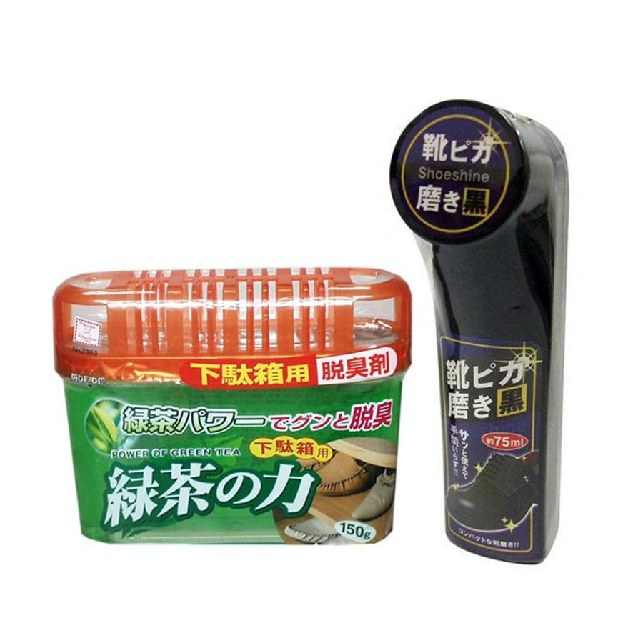 Combo Khử mùi tủ giày hương trà xanh + Dụng cụ làm bóng giày màu đen nội địa Nhật Bản (75ml)