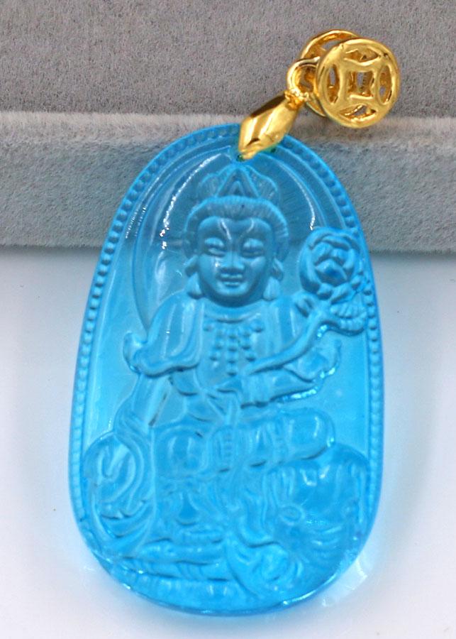 Mặt phật Phổ Hiền Bồ Tát thủy tinh xanh lam 3.6cm