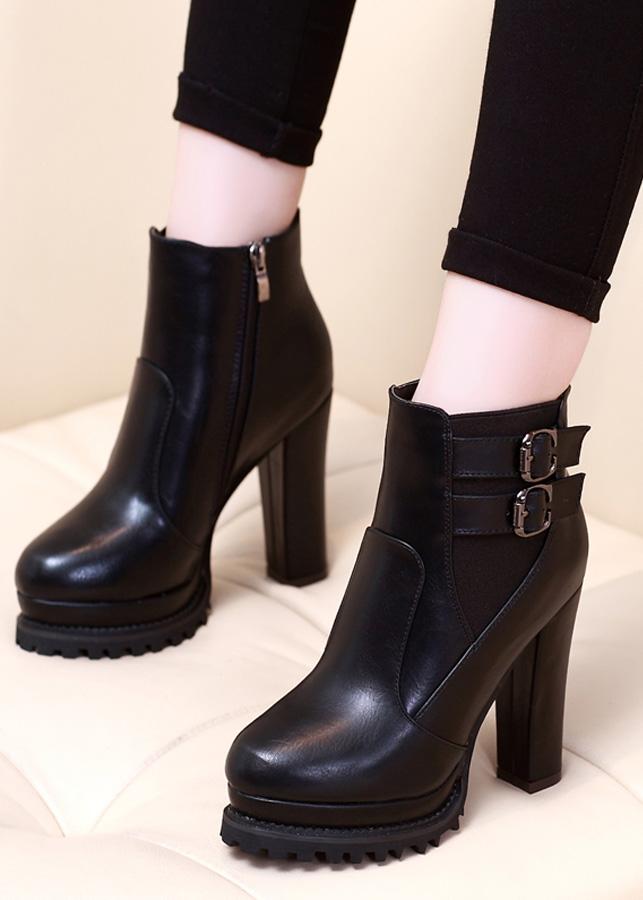 Boot nữ đế vuông cổ ngắn sành điệu GBN137
