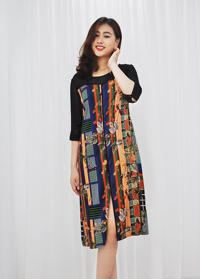 1217947669590 - Đầm suông bigsize dạo phố kiểu đầm suông in họa tiết lá nhiều màu viền đen ROMI 3071