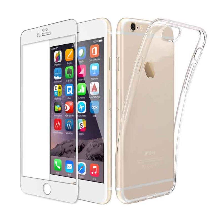 Ốp Lưng Trong ESCASE Dành Cho IPhone8 / 7Plus + Kính Cường Lực Full Màn Hình 5.5 Inch - Trắng